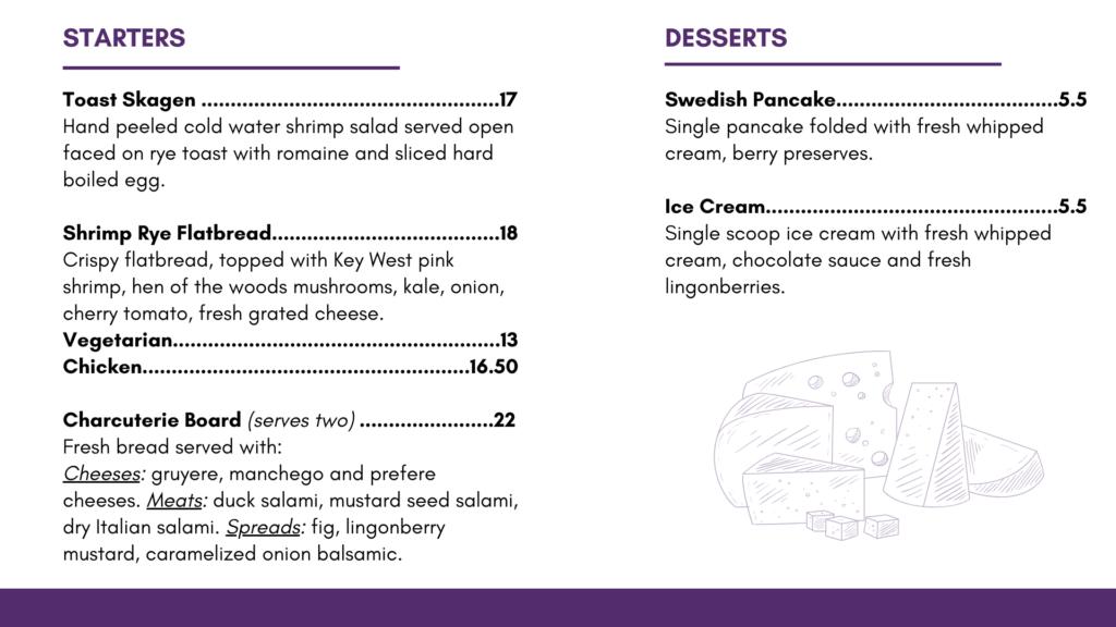 Johans Joe Dinner Menu Starters and Desserts
