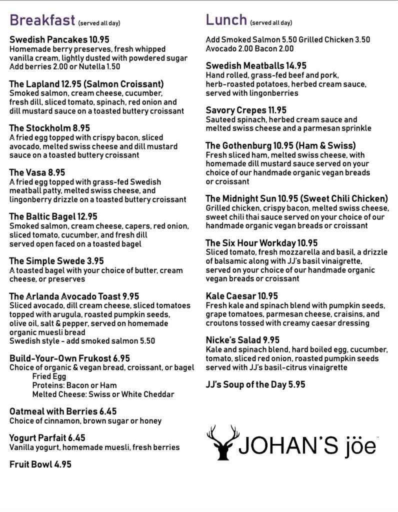 Johans Joe Places in West Palm Beach Lunch Menu00001